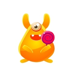 Yellow Toy Monster With Candy vector image vector image