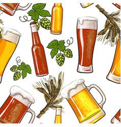 banner of beer bottle mug and glass malt and hop vector image vector image