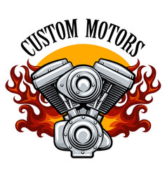 biker club emblem with pistons in flame vector image vector image