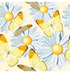 Camomile and butterfly seamless vector image