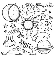 celestial elements doodle vector image