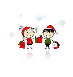 Christmas gifts Children with shopping bags vector image
