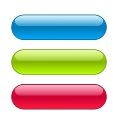 Glossy blue red and green web buttons vector image vector image