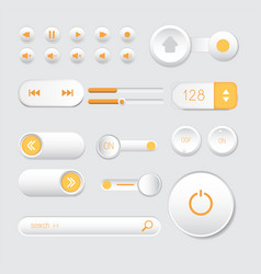 rounded buttons set orange web vector image