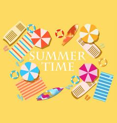 Summer time beach elements umbrellas shelves vector