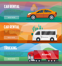 trucking and car rental banners vector image