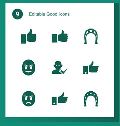 9 good icons vector image