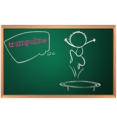 A blackboard with a trampoline vector