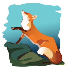 a red-haired wily fox sits in forest red tail vector image