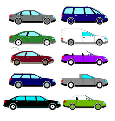 a set of sketches of ten retro cars vector image