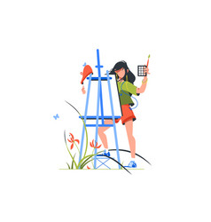 artist woman character holding paintbrush vector image