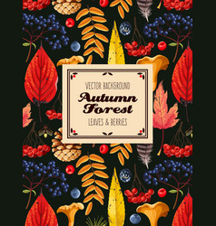 autumn card with leaves and berries vector image