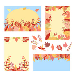 autumn set of greeting cards vector image