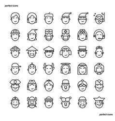 avatar outline icons perfect pixel vector image