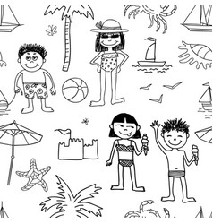background of kids on beach rest vector image