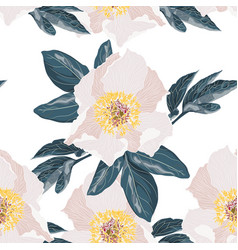 Background with bouquets beige peonies vector