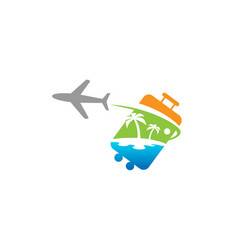 bag travel airplane creative air design logo vector image