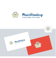 basket logotype with business card template vector image