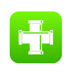 Black pipe fitting icon digital green vector