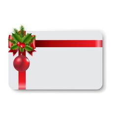 Blank gift tag red ribbon bow vector
