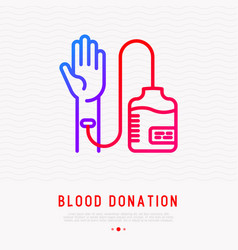 blood donation transfusion from hand to blood bag vector image