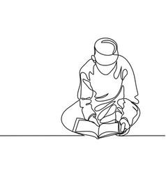 Boy in fez reading koran vector