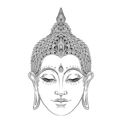 Buddha face isolated on white esoteric vintage vector