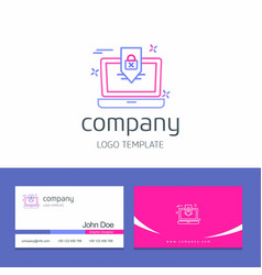 Business card design with cyber security company vector