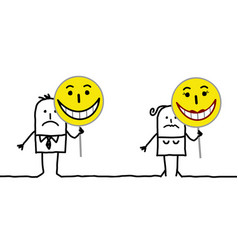 Cartoon characters holding emoticon signs vector