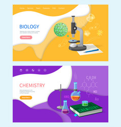 chemistry lessons in school biology subject set vector image