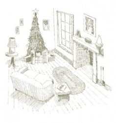Christmas interior vector image vector image