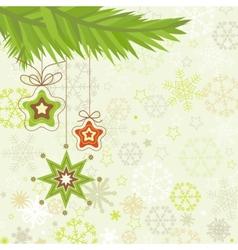 Christmas tree star ornaments vector image