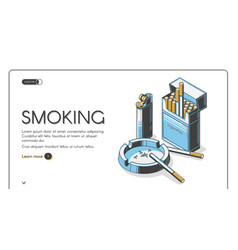 Cigarettes in package with ashtray and lighter vector