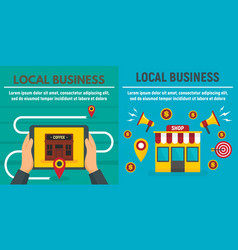 City local business shop banner set flat style vector