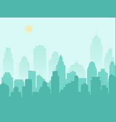 city silhouette cityscape and morning mist vector image