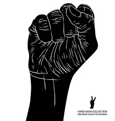 Clenched fist held high in protest hand sign vector image