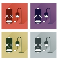 Concept of flat icons with long shadow battery vector