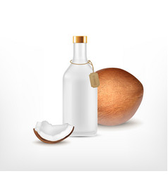 Cosmetic bottle with coconut oil vector