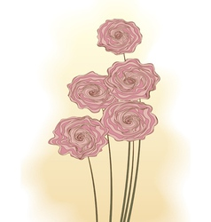 Decorative bouquet pink roses vector
