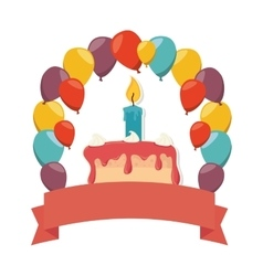 delicious cake birthday card vector image