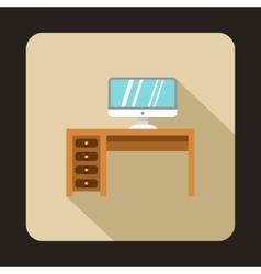 Desktop ith computer icon flat style vector