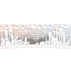Europe city skyline in paper cut style vector
