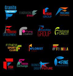 F letter creative colorful corporate identity icon vector
