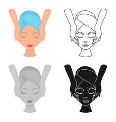 facial massage icon in cartoon style isolated on vector image