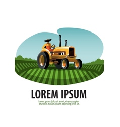 Farm Tractor and Harvest Logo icon emblem template vector image vector image