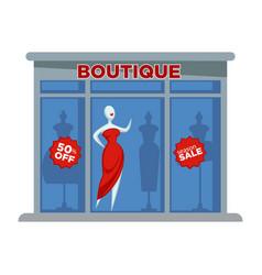 Fashion dress boutique facade building or vector