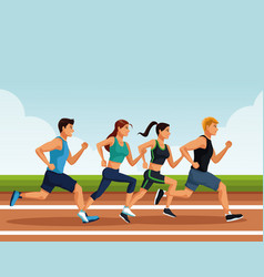 Fitness people running vector