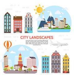Flat city landscape elements set vector