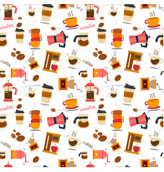 Flat coffee stuff pattern seamless vector