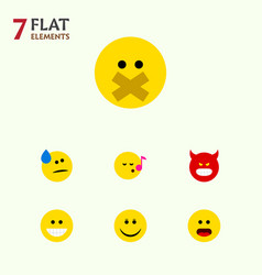 Flat icon emoji set of tears descant wonder and vector